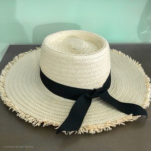 Straw Boater Hat with Black Ribbon